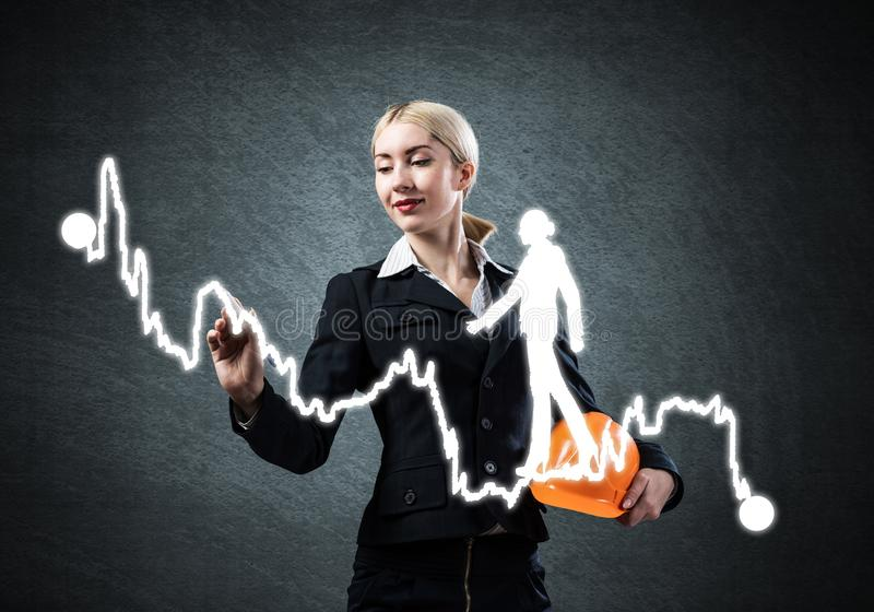 Business lady drawing success graph royalty free stock photos