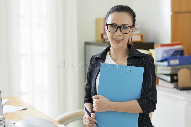 Business lady with folder stock images