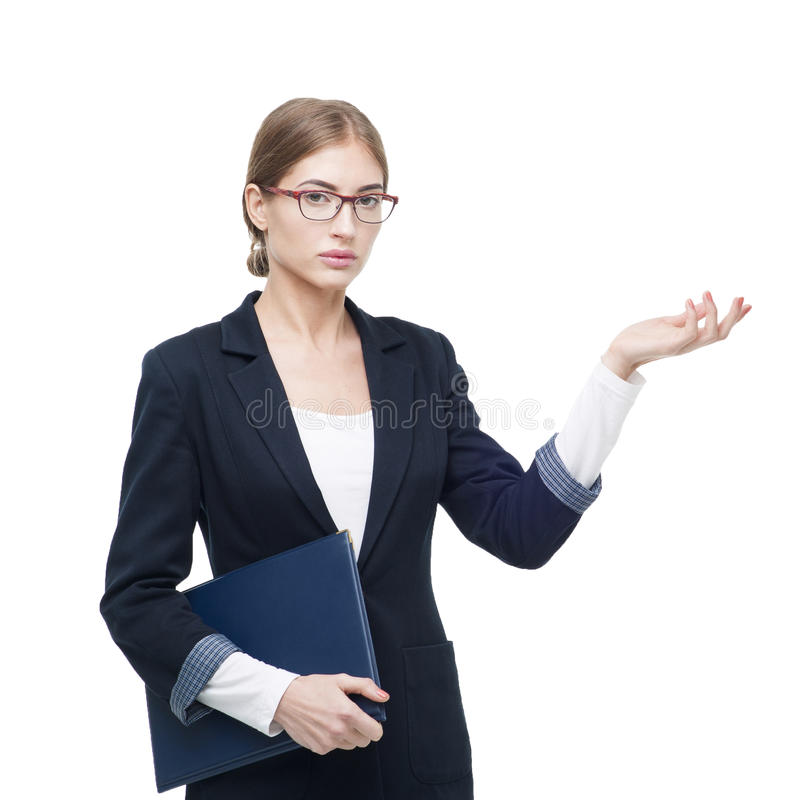 Business lady with the folder represents the project. Isolated o royalty free stock image