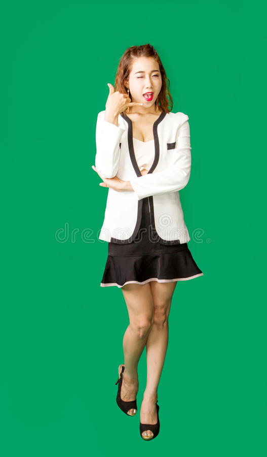 Business lady give telephone number royalty free stock image