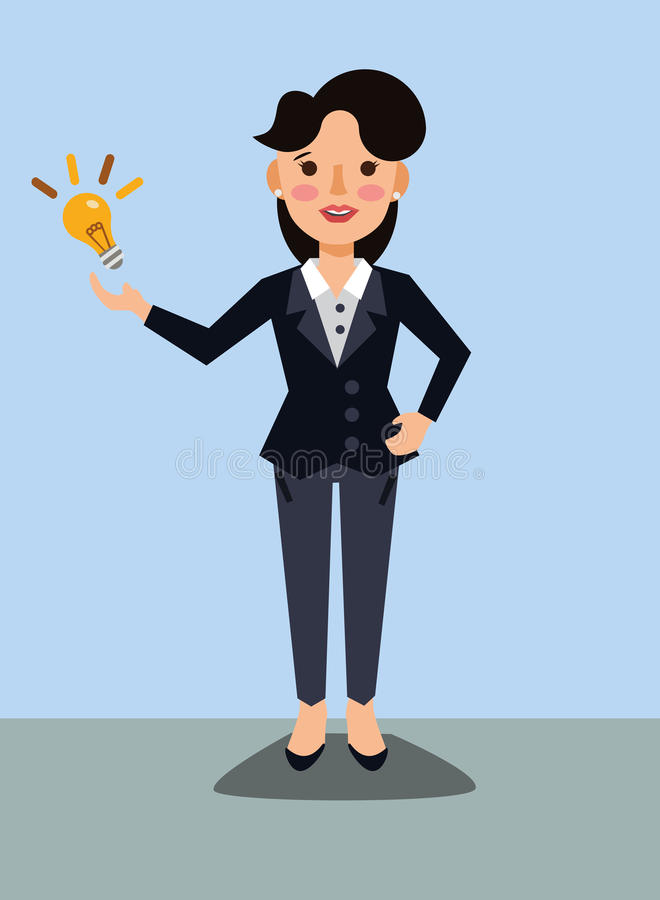 Business lady with idea. Woman has a new idea stock illustration