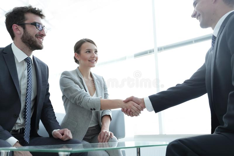 Business lady meets her business partner royalty free stock image