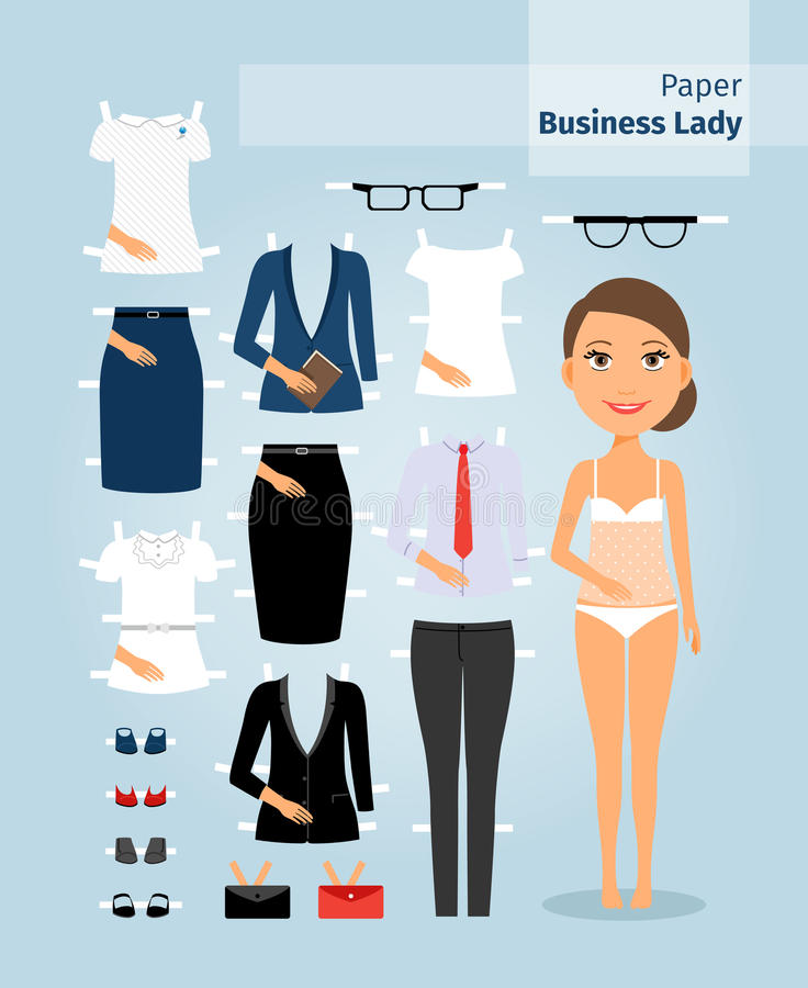 paper doll template woman - business lady paper doll cute girl in office stock photo