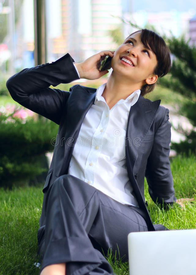 Business lady with phone royalty free stock photos