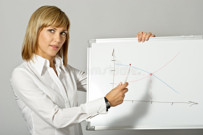 Download Business Lady Pointing To Whiteboard Stock Image - Image: 7812571
