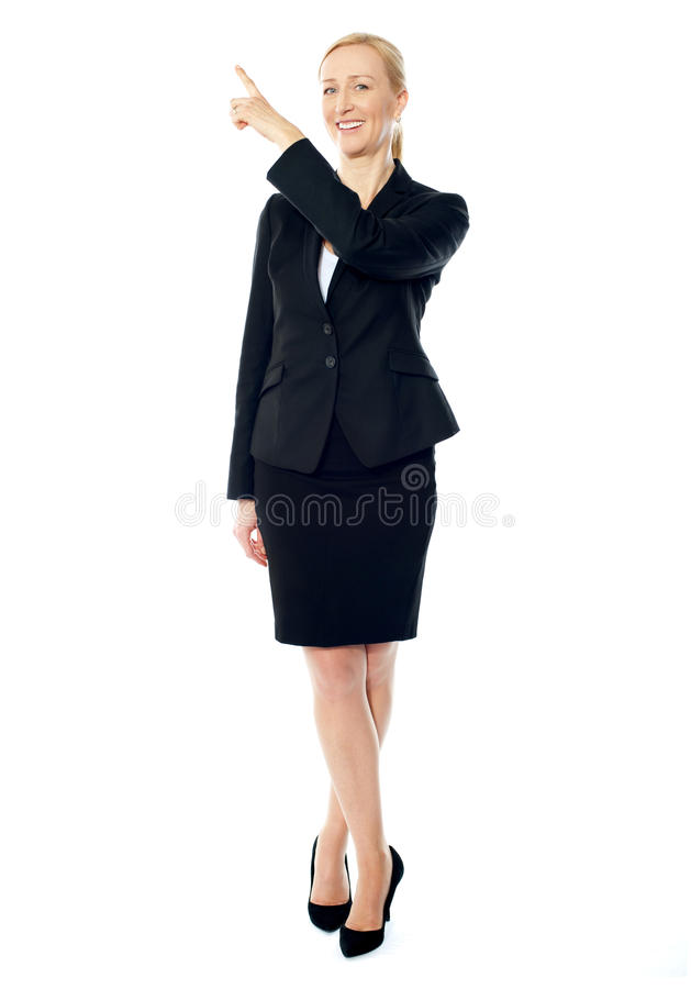 Download Business Lady Pointing Upwards, Copyspace Concept Stock Photo - Image of lady, gorgeous: 24364958