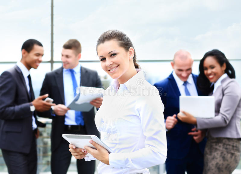 Business lady with positive look and cheerful royalty free stock photos