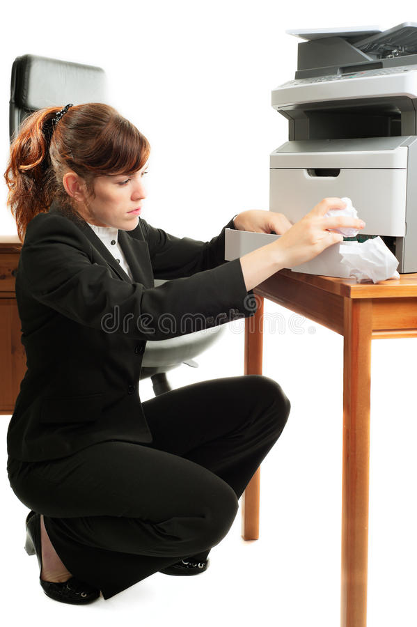 Business lady with a printer royalty free stock images