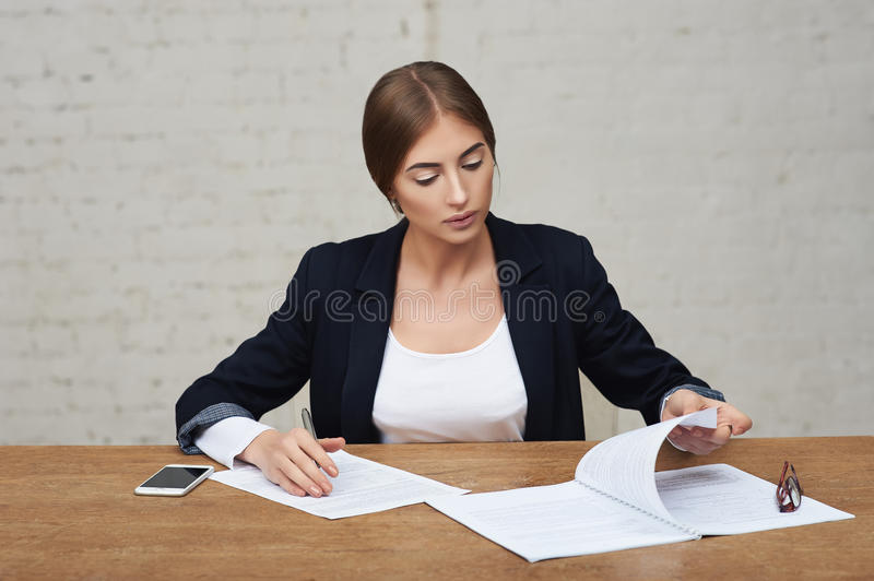 Business lady reading data royalty free stock images