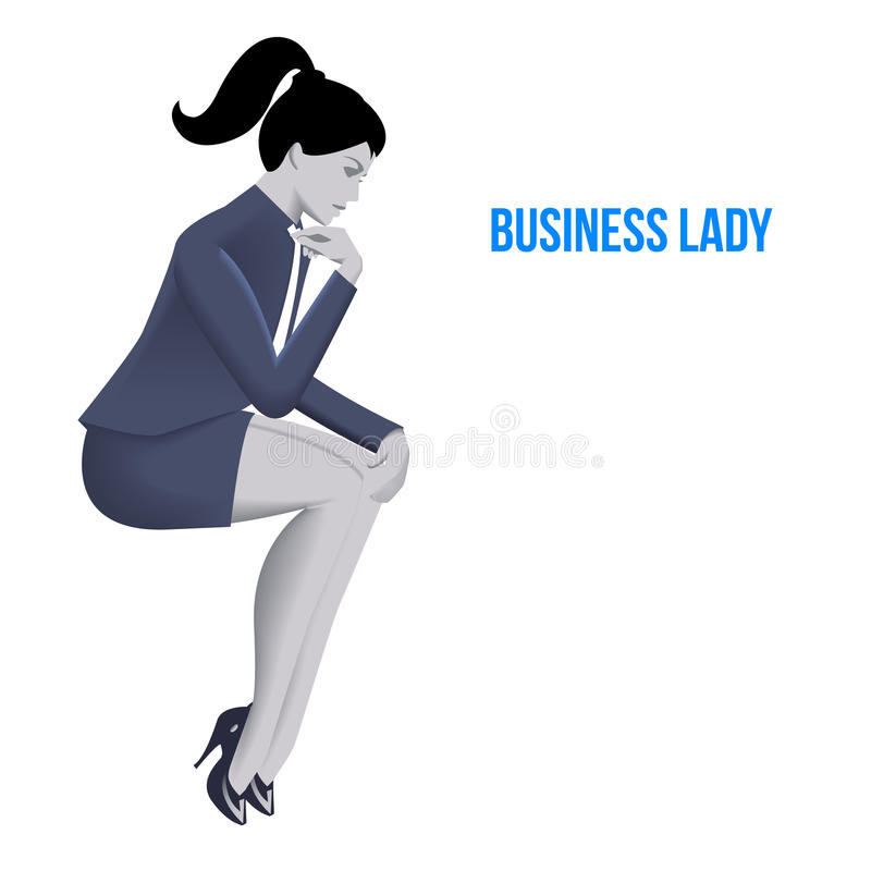 Business lady sitting thinking template. Sitting pensive business lady in business suit isolated on white background. Vector illustration. Use as template stock illustration