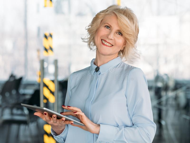 Business lady tablet digital analysis management royalty free stock photo