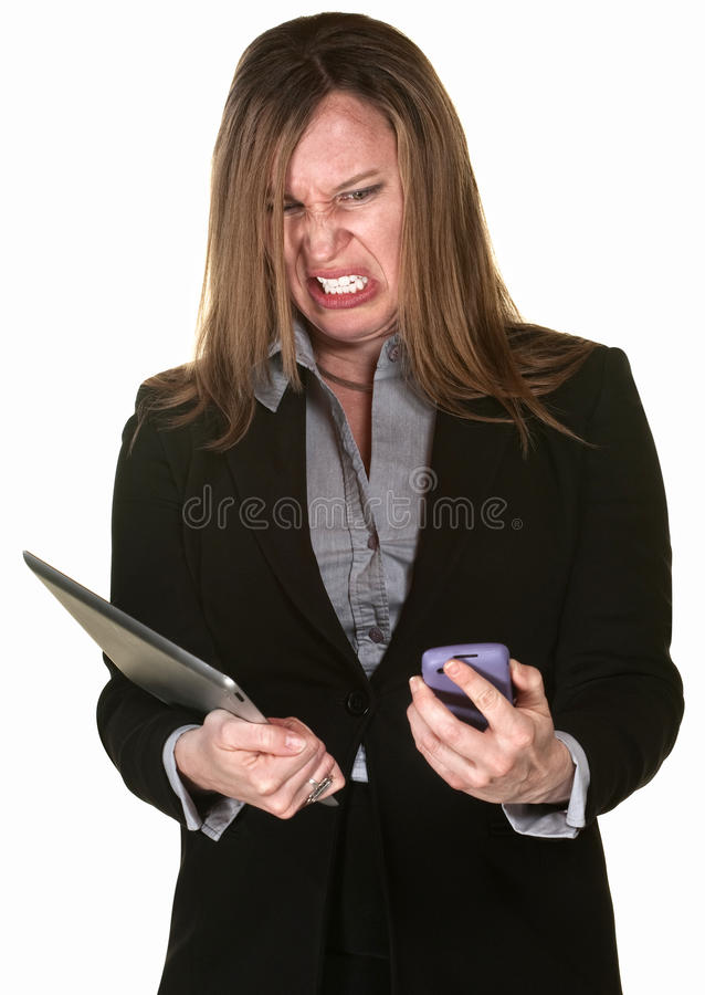 Download Business Lady With Technical Problems Stock Photo - Image: 25437782