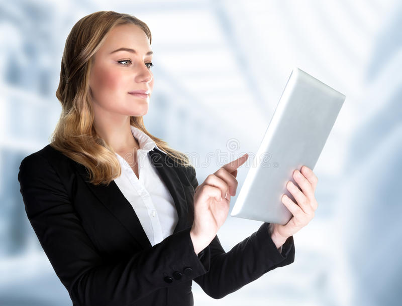 Business lady with touch pad stock image
