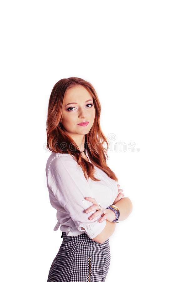 Business lady on a white background. The concept of business, jo royalty free stock images
