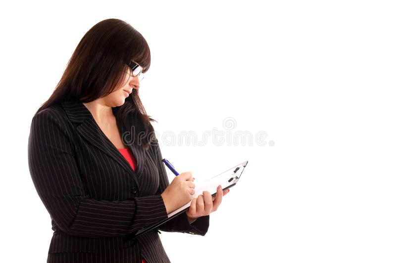 Download Business Lady With With Writing Pad Stock Photo - Image: 24420670