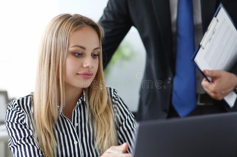 Business lady writing something stock photo