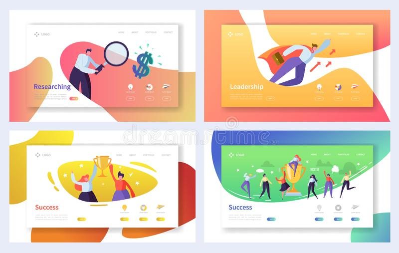 Business Landing Page Template Set. Business People Characters Researching, Leadership, Success Concept for Website. Or Web Page. Vector illustration vector illustration