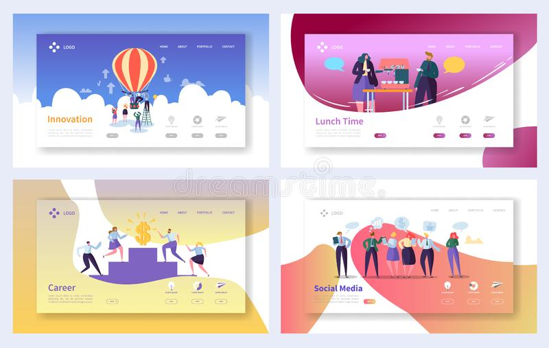 Business Landing Page Template Set. Business People Characters Social Media, Innovation, Career Growth Concept. For Website or Web Page. Vector illustration vector illustration