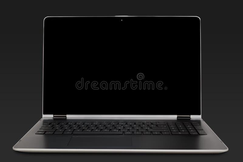 Business laptop. On dark grey background stock photos