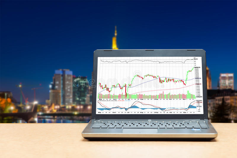 Business laptop on wood table showing business trading graph wit. H cityscape building in background, Business trading technology concept royalty free stock images