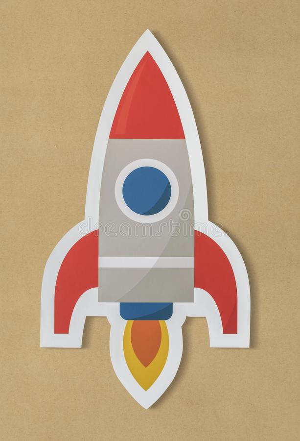 Business launching rocket ship icon stock images