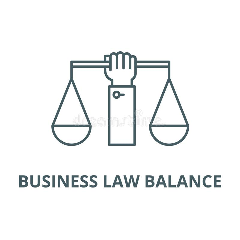 Business law balance line icon, vector. Business law balance outline sign, concept symbol, flat illustration. Business law balance line icon, vector. Business vector illustration