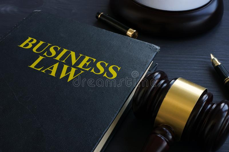 Business law and gavel in a court. Business law and gavel in the court royalty free stock image