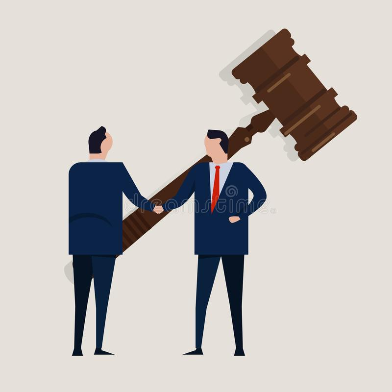 Business law legal contract people agreement standing handshake wearing suite formal with big gavel settlement court. Concept vector vector illustration