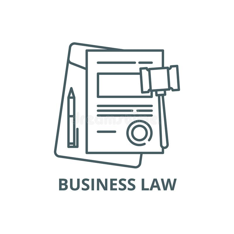 Business law line icon, vector. Business law outline sign, concept symbol, flat illustration royalty free illustration