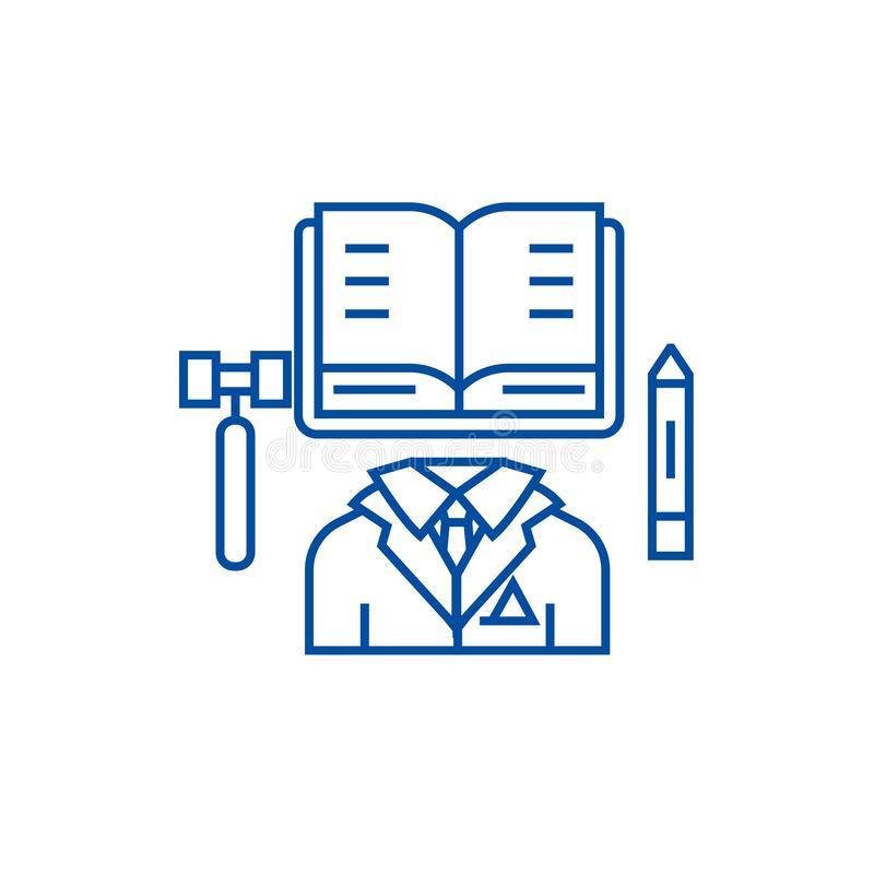 Business law,open book line icon concept. Business law,open book flat  vector symbol, sign, outline illustration. vector illustration