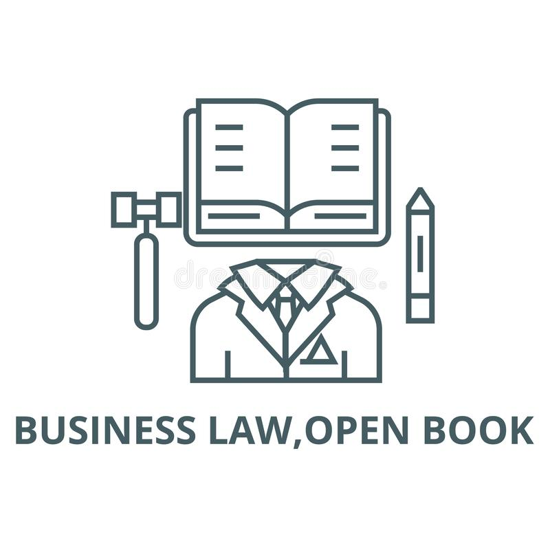 Business law,open book line icon, vector. Business law,open book outline sign, concept symbol, flat illustration vector illustration