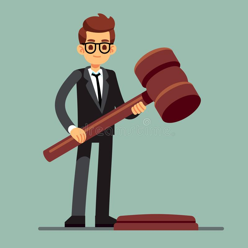 Business lawyer holding wooden judge gavel. Legal verdict, legislation authority vector concept. Illustration of legality jurisdiction, guilty and order vector illustration