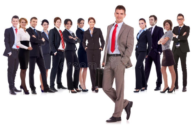 Business leader with briefcase in his hand stock photography