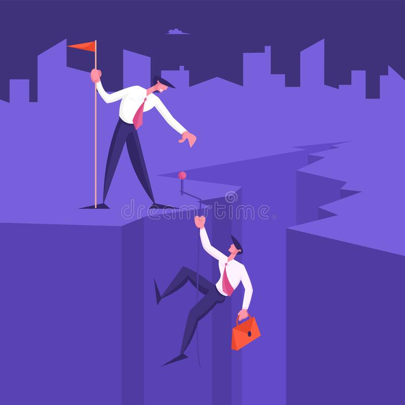 Business Leader Character Help Colleague Climb to Top of Cleft with Hoisted Red Flag, Businessman Help Teammate. To Go Up on Mountain Peak. Teamwork, Leadership royalty free illustration
