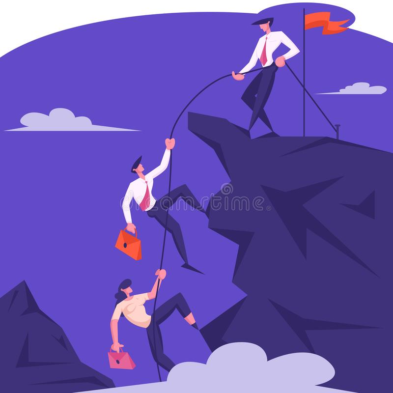 Business Leader Character Help Team Climb to Top of Rock with Hoisted Red Flag, Businessman with Rope Pull Teammates royalty free illustration