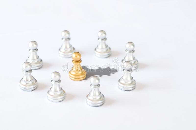 Business and leader concept, chessmen with gold king chess shad stock photo