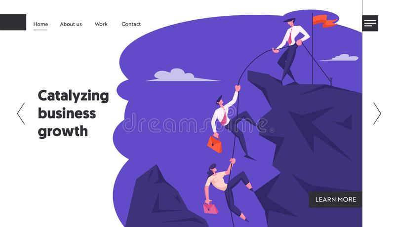 Business Leader Help Team Climb to Top of Rock with Hoisted Red Flag, Businessman with Rope Pull Teammates to Mountain stock illustration