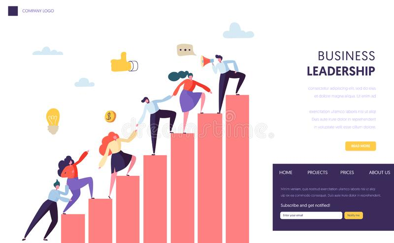 Business Leader Help Team Reaching Up Website. People Climbing Up the Graph. Career Ladder with Characters. Teamwork stock illustration