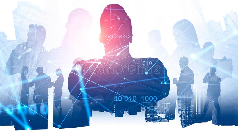 Business leader and his team, digital interface stock photography