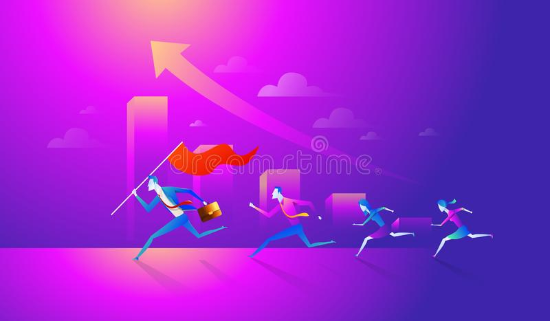 Business team holding flag and running to success. Concept business vector illustration royalty free illustration