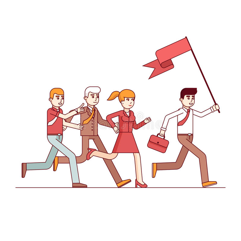 Business leader leading the way to his colleagues. Business leader holding big flag and running leading the way to his fellow colleagues businessman people royalty free illustration