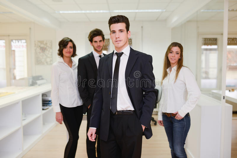 Business leader looking at camera. Image of business leader looking at camera in working environment royalty free stock image
