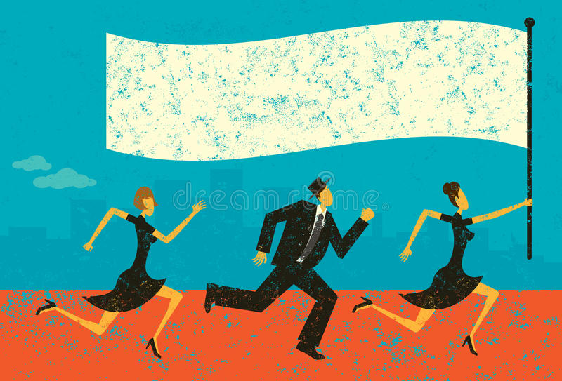 Business Leader. Business people following their leader carrying a flag. The people and background are on separately labeled layers royalty free illustration