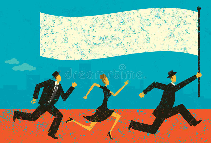 Business Leader. Business people following their leader carrying a flag. The people and background are on separately labeled layers stock illustration