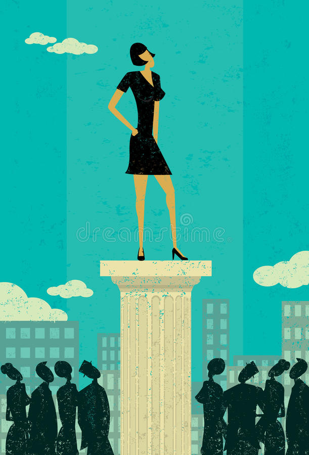 Business Leader. Business people looking up at their leader. The leader & column and background are on separately labeled layers stock illustration