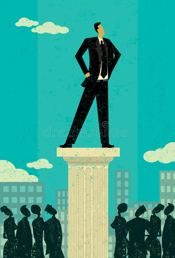 Business Leader. Business people looking up at their leader. The leader & column and background are on separately labeled layers royalty free illustration