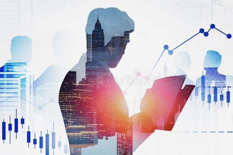 Business leader and team in city, charts. Side view of young businessman signing contract in modern city with double exposure of business people and digital stock photography
