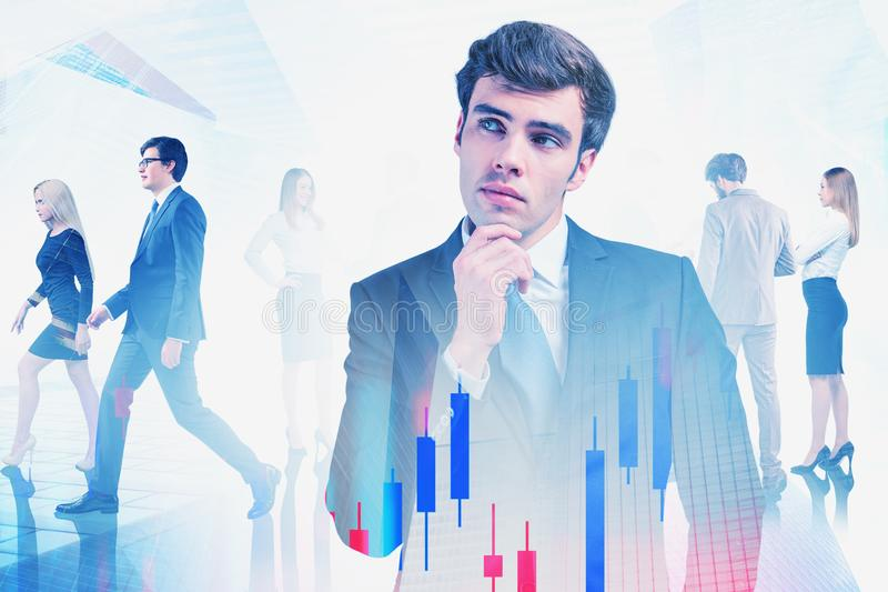 Business leader and team in city, forex charts stock photos