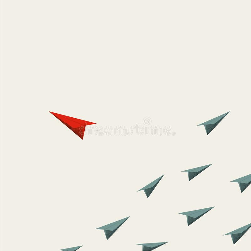 Free Business Leader Vector Concept. Paper Plane Flying Away From Group, Minimal Art Design Style. Royalty Free Stock Photos - 207106368