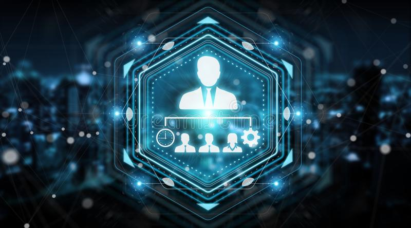 Business leadership chart digital interface 3D rendering royalty free illustration